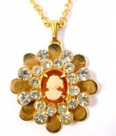 Vintage Rhinestone Studded Cameo Pendant And Necklace.
